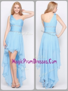 Inexpensive Famous One Shoulder High Low Prom Dresses with Beading