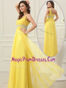 New Cheap Empire One Shoulder Beading Prom Dress in Yellow