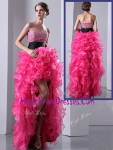 2016 Exquisite High Low Hot Pink Prom Dress with Ruffles