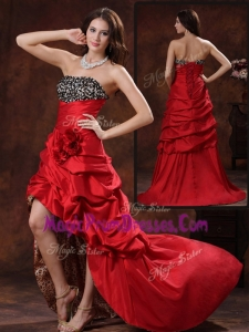 New Gorgeous High Low Strapless Prom Dress With Hand Made Flowers