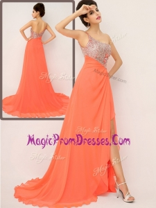 Classic One Shoulder Prom Dresses with High Slit and Sequins