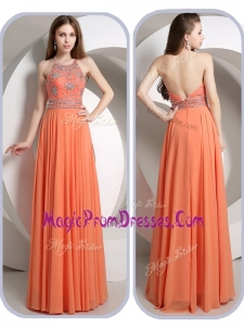 Exclusive Empire Halter Top Orange Prom Dresses with Beading