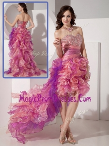Exclusive High Low Beading Prom Dresses in Multi Color