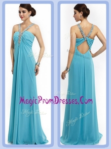New Empire Brush Train Beaded Prom Dresses