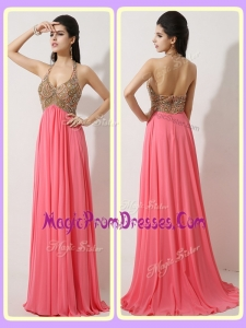 New Style Halter Top Brush Train Watermelon Red Prom Dresses
