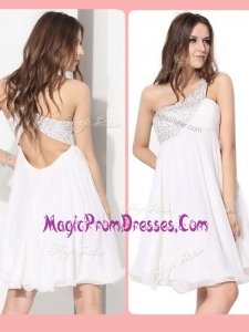 New Style Short One Shoulder Beading Prom Dress in White