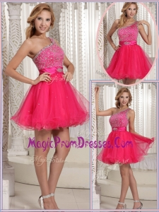 Hot Sale Gorgeous One Shoulder Beading Short Prom Dresses for 2016
