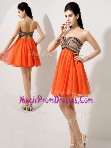 Hot Sale Short Orange Red Prom Dresses with Beading and Sequins