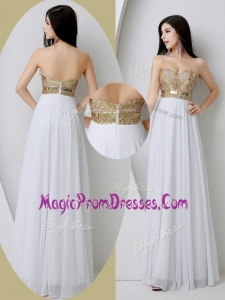 Perfect Sweetheart White Prom Dresses with Beading and Sequins