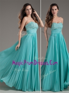 Hot Sale Empire Strapless Turquoise Long Prom Dress
