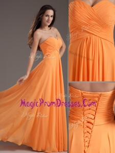 Wonderful Sweetheart Floor Length Ruching Prom Dress in Orange