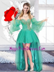 2016 Perfect Beaded Sweetheart Prom Dresses with High Low