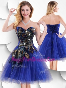Fashionable Short Peacock Blue Prom Gowns with Beading and Appliques