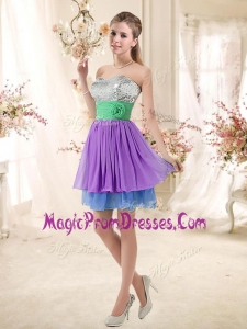 Impressive Sweetheart Multi Color Short Prom Dresses with Sequins