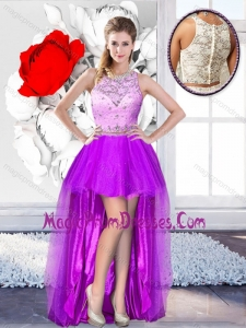 Pretty High Low Scoop 2016 Prom Gowns with Beading