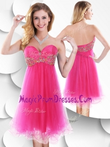 Impressive Sweetheart Hot Pink Short Prom Dress with Beading