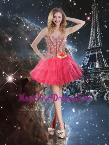 Perfect Short Sweetheart Prom Dresses with Beading and Hand Made Flowers