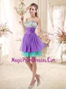 Perfect Sweetheart Short Prom Dresses with Sequins and Belt