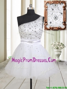 2017 Fashionable One Shoulder Beaded Bodice Zipper Up White Prom Dress in Tulle