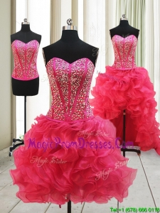 2017 Hot Sale Visible Boning High Low Detachable Prom Dresses with Beaded Bodice and Ruffles