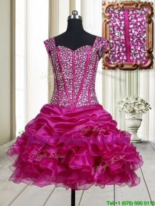2017 Pretty Visible Boning Straps Beaded Bodice and Ruffled Prom Dress in Fuchsia
