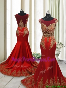 Beautiful Brush Train Mermaid Cap Sleeves Prom Dress with Beading and Appliques