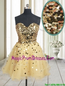 Best Selling Sequined Bodice Zipper Up Organza Prom Dress in Champagne