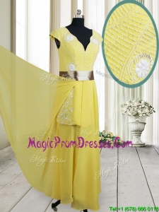 Popular Beaded and Belted V Neck Chiffon Yellow Prom Dress with Cap Sleeves