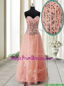 Pretty Visible Boning See Through Applique and Beaded Long Prom Dress in Tulle