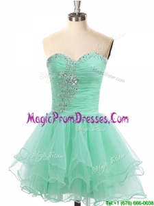 Casual A Line Organza Beaded Prom Dress in Apple Green
