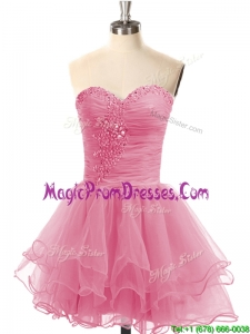 Casual Lace Up Organza Short Prom Dress with Beading