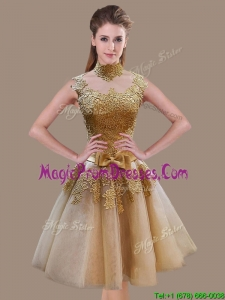 Elegant A Line High Neck Champagne Prom Dress with Appliques and Bowknot