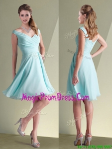New Style Chiffon Off the Shoulder Aqua Blue Prom Dress with Ruching