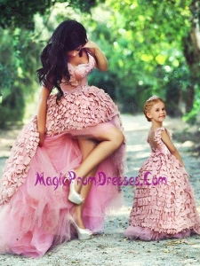 New Style High Low Prom Dress in Special Material and Perfect Applique Little Girl Dress with Straps