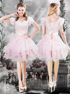 Fitting Organza V-neck Short Sleeves Lace Up Beading and Appliques and Ruffles and Hand Made Flower Dress for Prom in Baby Pink