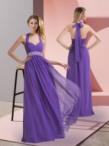 High End Sleeveless Chiffon Floor Length Side Zipper Prom Dress in Purple with Beading and Ruching