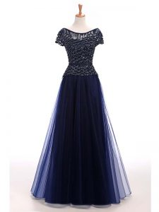 New Arrival Tulle Short Sleeves Floor Length Evening Dress and Beading