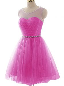 New Arrival Fuchsia Tulle Lace Up Scoop Sleeveless Mini Length Prom Gown Beading and Ruching