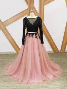 Fashion Zipper Red Carpet Prom Dress Pink And Black for Prom and Party with Lace and Appliques and Sashes ribbons Brush Train