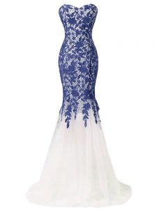 High End Tulle Sweetheart Sleeveless Brush Train Zipper Beading and Lace and Appliques Dress for Prom in Blue And White
