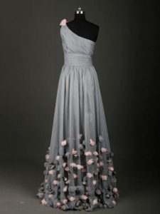 Top Selling Grey A-line Chiffon One Shoulder Sleeveless Pleated and Belt and Hand Made Flower Floor Length Backless Prom Dress