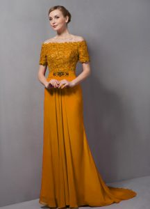 High End Gold Off The Shoulder Zipper Lace Prom Evening Gown Sweep Train Short Sleeves