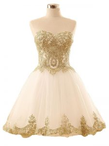 High Class Champagne Lace Up Homecoming Dress Lace and Appliques Sleeveless Mini Length