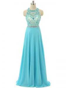 Sleeveless Chiffon Floor Length Zipper Prom Party Dress in Aqua Blue with Beading