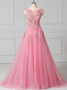 Scoop Sleeveless Tulle Prom Party Dress Appliques Brush Train Lace Up