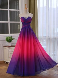 Fashion Chiffon and Printed Sleeveless Floor Length Prom Dresses and Beading and Ruching