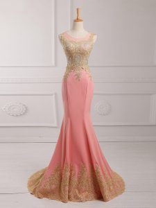 Enchanting Scoop Sleeveless Chiffon Prom Dress Lace and Appliques Brush Train Side Zipper