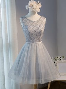 Tulle Scoop Sleeveless Lace Up Beading in Grey