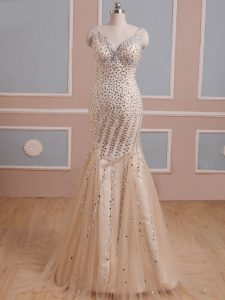 Glorious Sleeveless Tulle Brush Train Criss Cross in Champagne with Beading