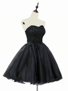 Popular Black A-line Sweetheart Sleeveless Organza Mini Length Lace Up Lace and Sashes ribbons Prom Dress